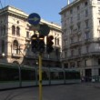 Modern tram in a street of Milan (Italy) — Stock Video