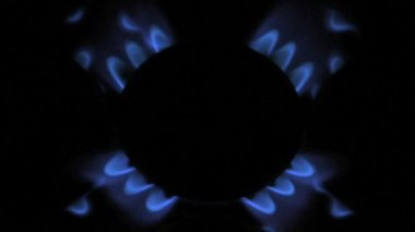 Blue flames of gas stove — Stock Video