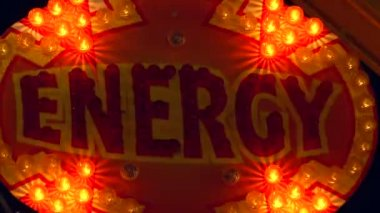 """""""energy"""" sign lit up by light bulbs — Stock Video"""
