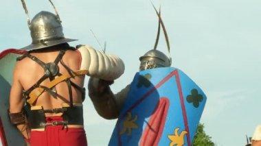 Roman legionaries during the reencatment — Vidéo