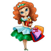 Lovely girl with shopping bags and gift — Stock Photo