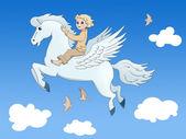 Pegasus and the boy — Stock Photo