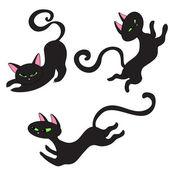 Três gatos pretos — Vetor de Stock