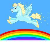 Caballo volador sobre el arco iris — Vector de stock