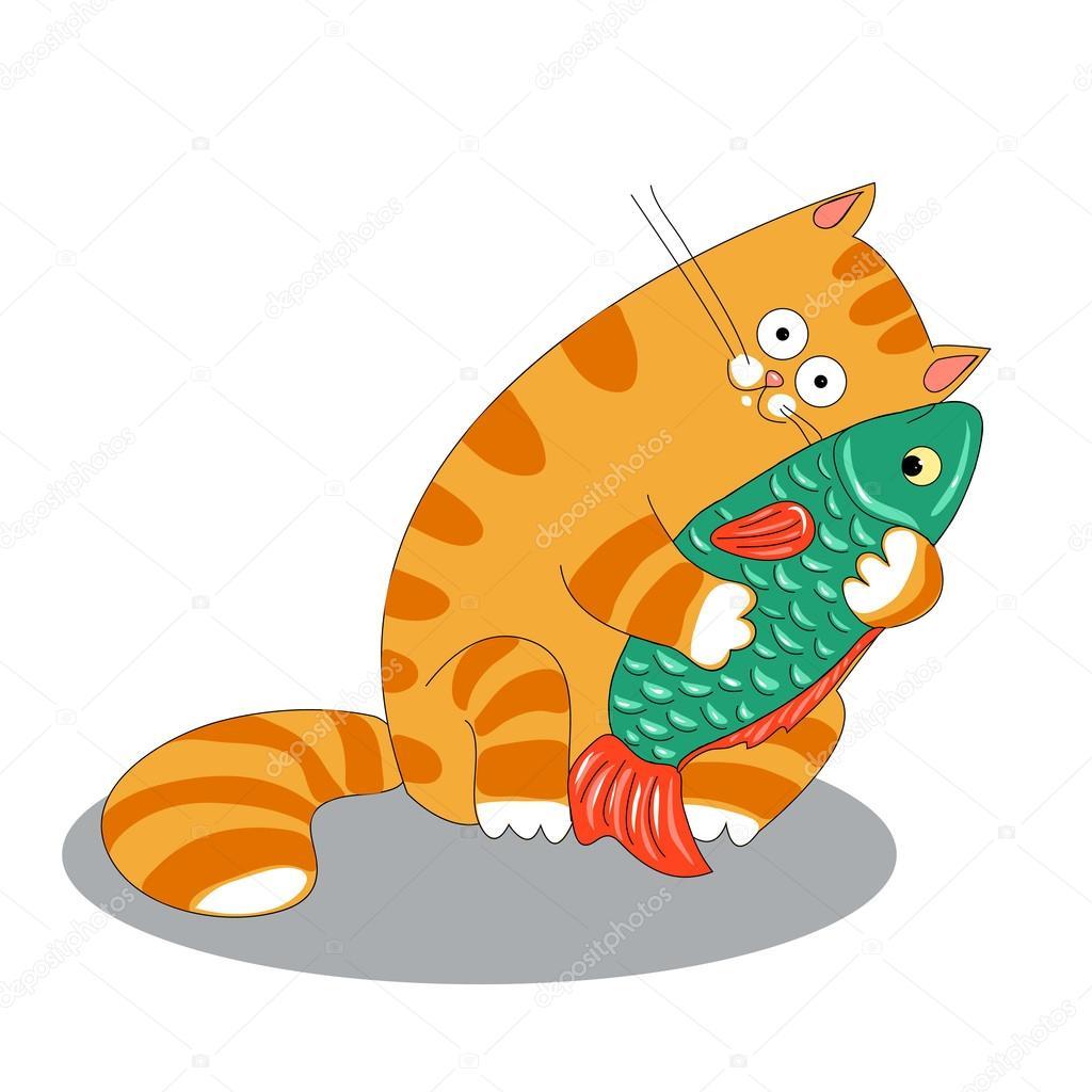 Как рисовать кота с рыбой