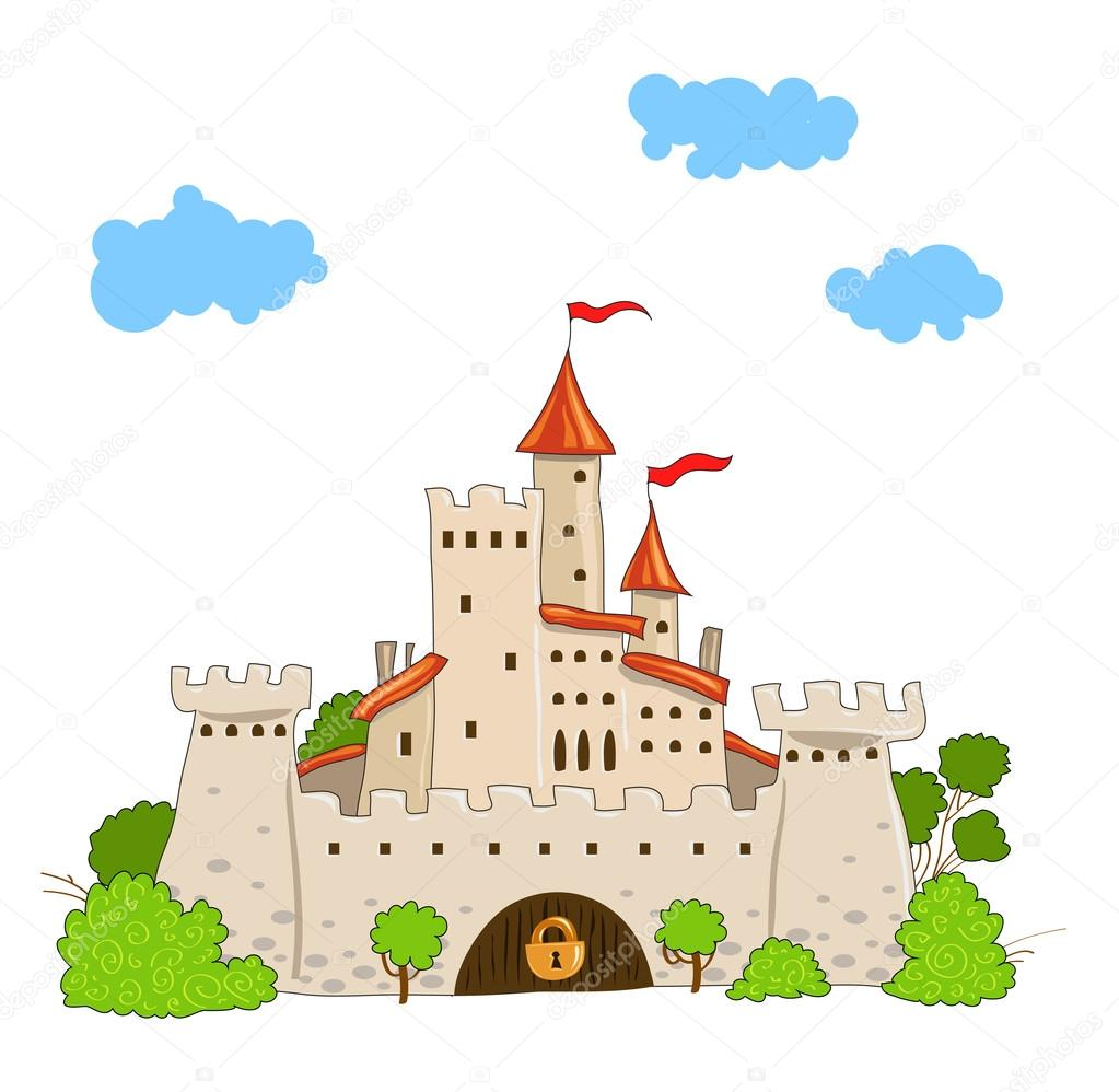 Fairytale castle with towers trees and clouds — Stock Vector #16646703
