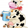 Cartoon spotted cow with a bucket of milk — Stock Vector