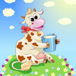 Stock vektor: Funny cow on meadow