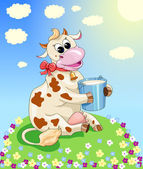 Funny cow on the meadow — Stock Vector
