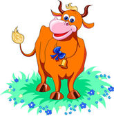 Funny red cow — Stock Vector