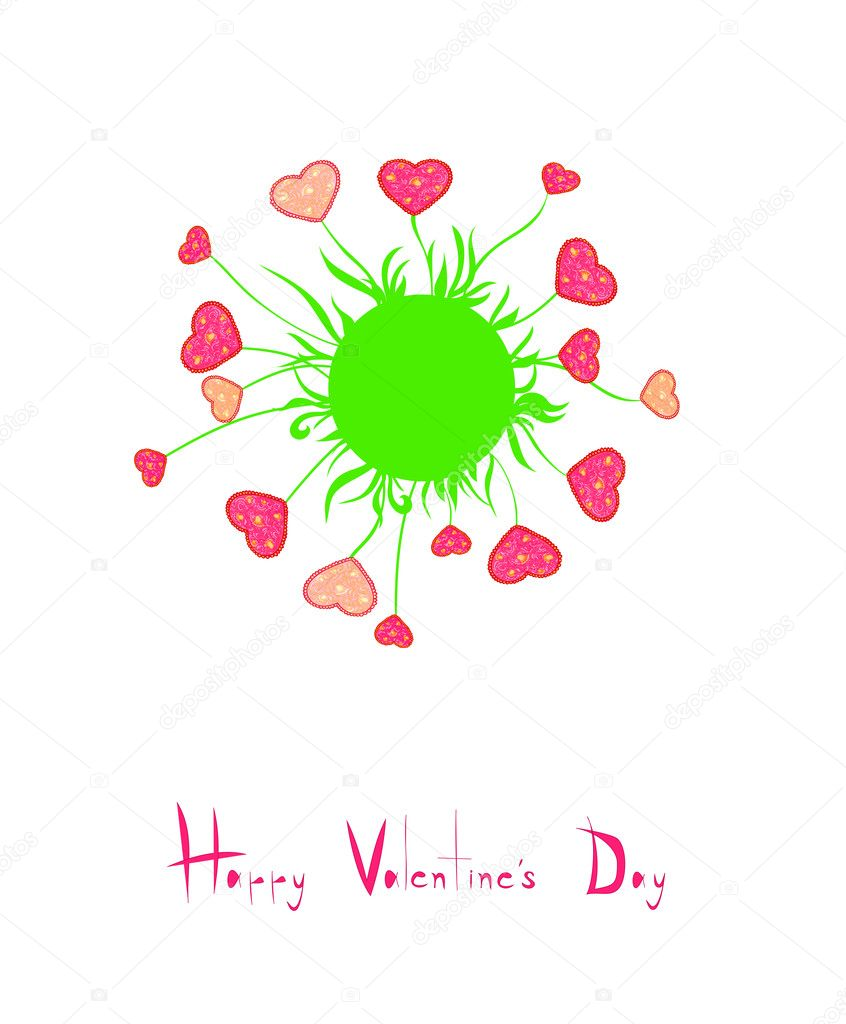 Card with flowers heart shaped Valentine's Day — Stock Vector #18460799