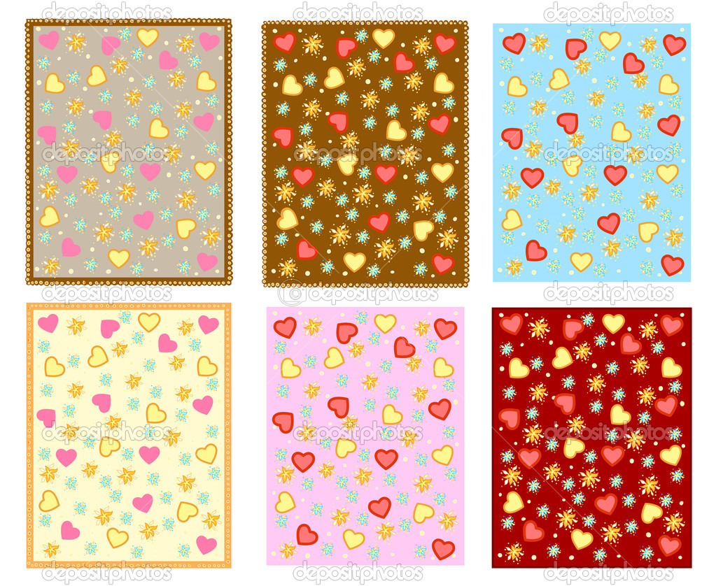 Six different color backgrounds with hearts and flowers — Stock Vector #18462587