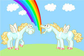 Deux dessins animés à cheval avec des ailes et un arc en ciel — Vecteur