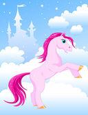 Magic pink horse — Stock Vector