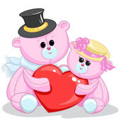 Two toy teddy bear with a heart — Stock Vector
