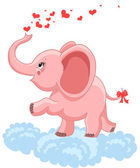 Pink baby elephant — Stock Vector