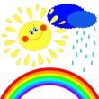 Sun, clouds and rain and a rainbow — Stock Vector