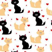 与猫的无缝纹理 — 图库矢量图片