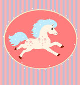 Card with a running white horse — Stock Vector