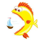 Barco y pez dorado — Vector de stock