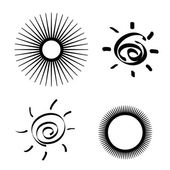 Set of stylized sun — Stock Vector