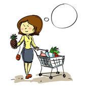 Woman in shop chooses fruit — Stock Vector