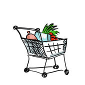 Shoplifting cart with products  — Stock Vector