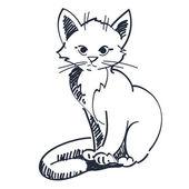 Vector illustration kitten sitting  — Stock Vector