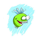 Vector illustration little gnat with teeth — Vecteur