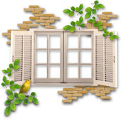 Window in a marvellous garden — Stock Photo