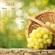 Calendar 2013. Grapes in a basket — Stock Photo