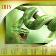 Calendar 2013. Beautiful calendar with the green snake — Stock Photo #13770761