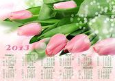 Calendar 2013. Tulips — Stock Photo