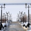 Amur River embankment in winter — Stock Photo