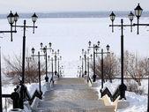 Nábřeží řeky Amur v zimě — Stock fotografie