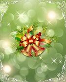 Сhristmas tree with handbells and ornament — Stock fotografie