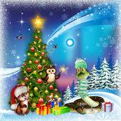Christmas tree on aurora borealis background — Stock Photo