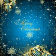 New Year's and christmas background with gold spheres and stars — Stock Photo