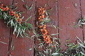 Branches of ripe sea buckthorn on the wooden floor boards — Stock Photo