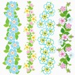 Set of vector floral borders - Stock Vector