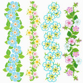 Set of vector floral borders — Stock Vector