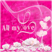 Valentines background with hearts and flowers — Stock Photo