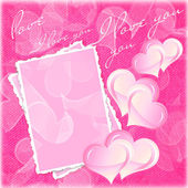 Valentines and wedding background with hearts and flowers — Stock Photo