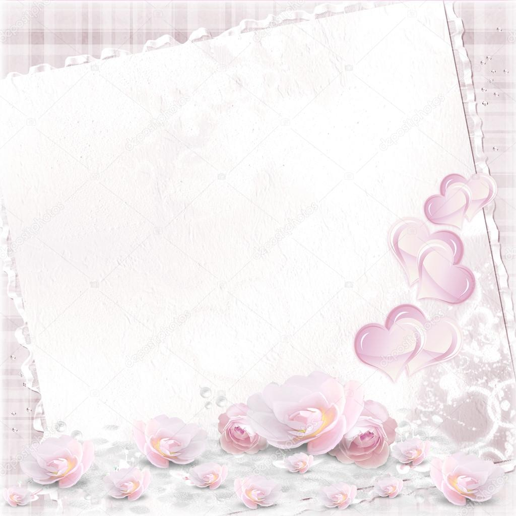 Valentines Day and wedding  pink background with  frame add your own message.  — Stock Photo #18625275