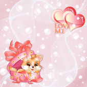Vector valentines background with hearts and kitten — Stock Vector