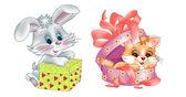 Bunny and kitten — Stock Vector