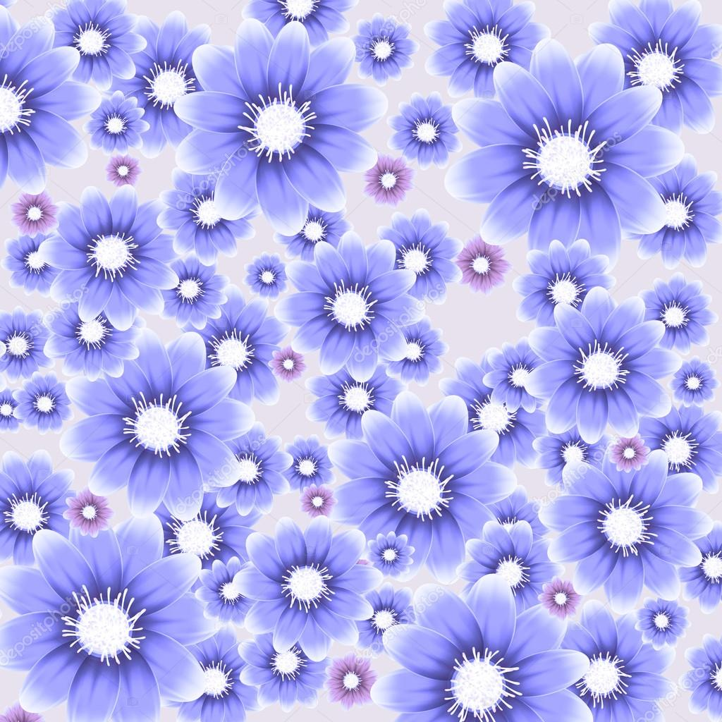 矢量蓝色花卉背景
