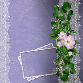 Lavender background with floral border and card — Stock Photo
