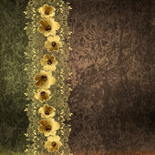 Gold floral border on a grunge background — Stock Photo