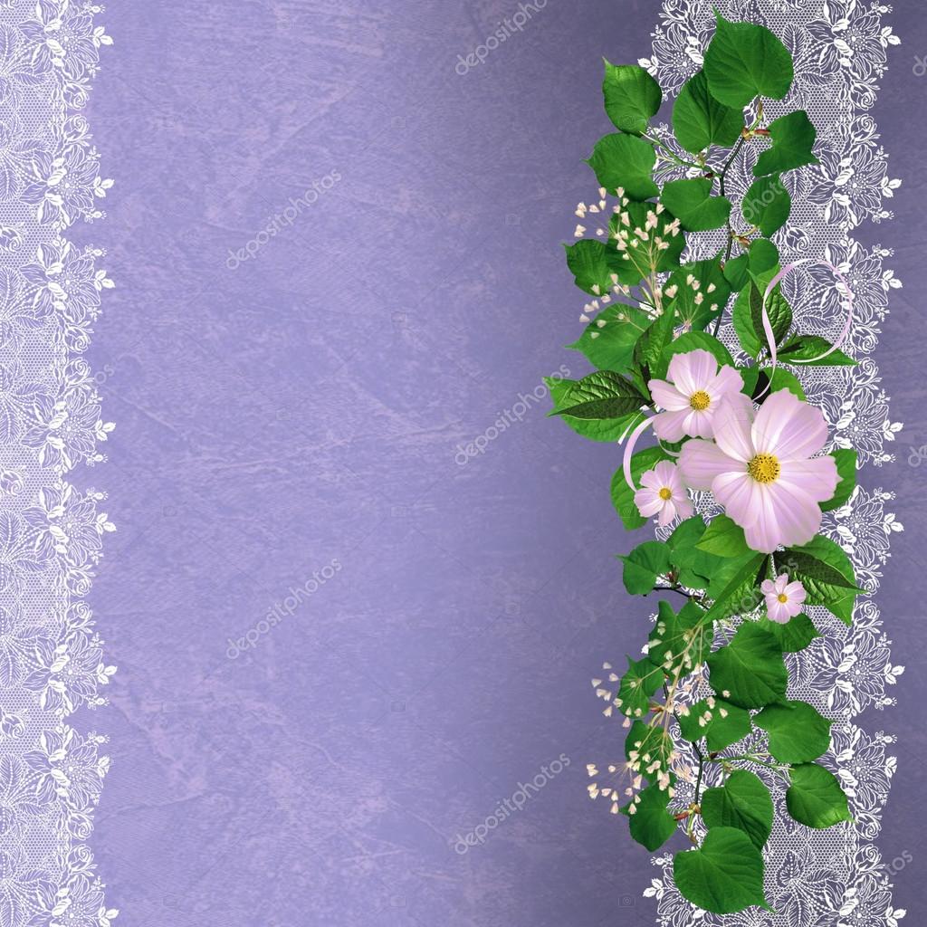 Lavender Background Wedding: Lavender Background With Floral Border